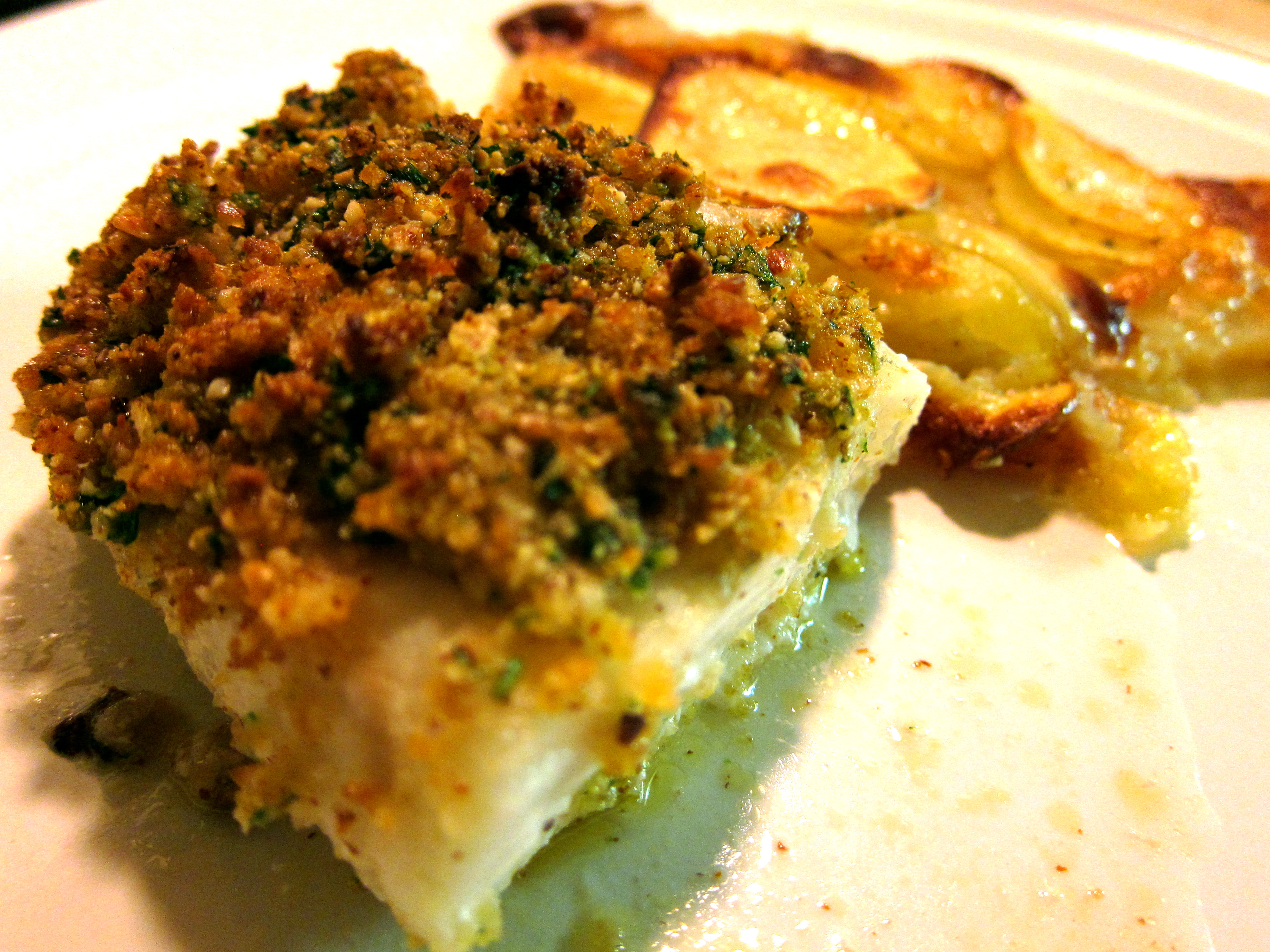 herb crusted cod fillets and scalloped potatoes dishes