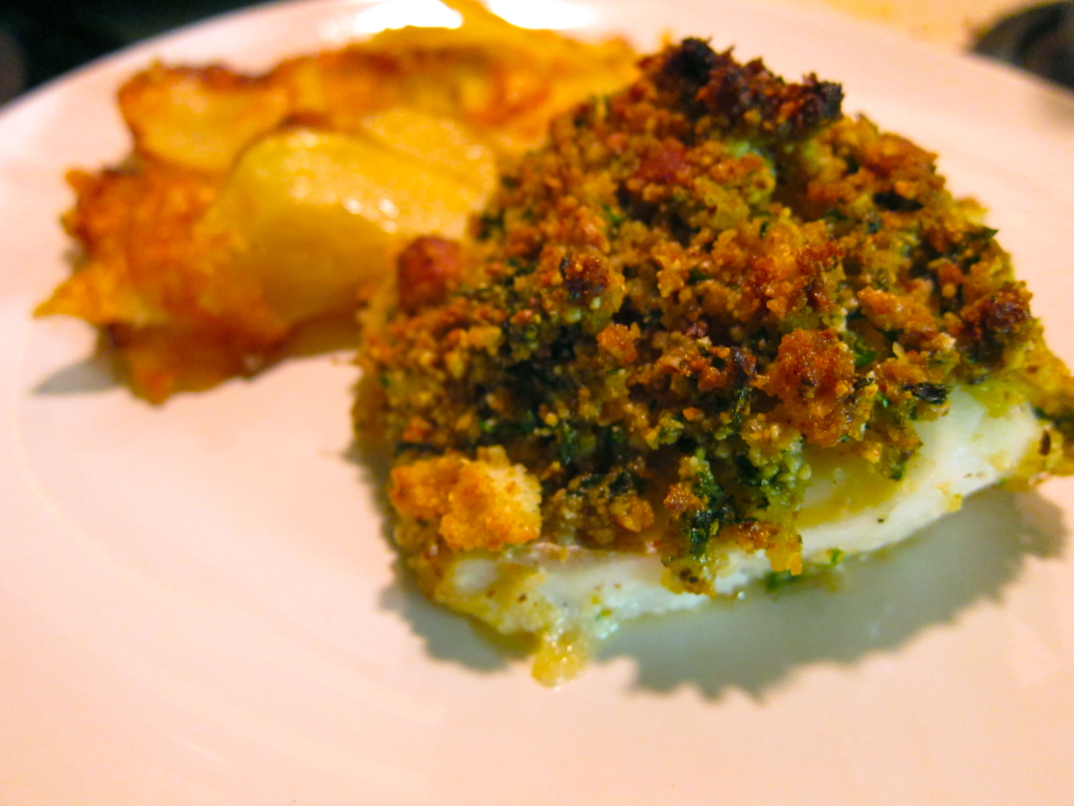 Butter and herb cracker crusted baked cod recipes dishmaps for Herb cod recipe